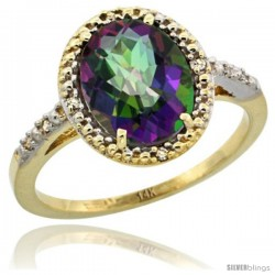 14k Yellow Gold Diamond Mystic Topaz Ring 2.4 ct Oval Stone 10x8 mm, 1/2 in wide -Style Cy408111