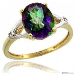 14k Yellow Gold Diamond Mystic Topaz Ring 2.4 ct Oval Stone 10x8 mm, 3/8 in wide