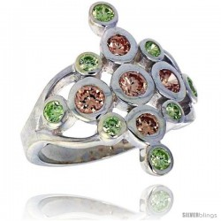 Highest Quality Sterling Silver 7/8 in (22 mm) wide Diamond-shaped Right Hand Ring, Bezel Set Brilliant Cut Peridot