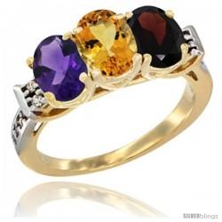 10K Yellow Gold Natural Amethyst, Citrine & Garnet Ring 3-Stone Oval 7x5 mm Diamond Accent