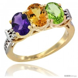 10K Yellow Gold Natural Amethyst, Citrine & Peridot Ring 3-Stone Oval 7x5 mm Diamond Accent