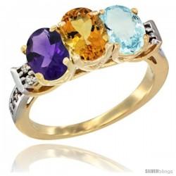 10K Yellow Gold Natural Amethyst, Citrine & Aquamarine Ring 3-Stone Oval 7x5 mm Diamond Accent
