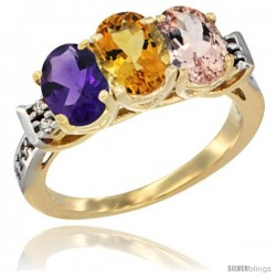 10K Yellow Gold Natural Amethyst, Citrine & Morganite Ring 3-Stone Oval 7x5 mm Diamond Accent