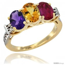 10K Yellow Gold Natural Amethyst, Citrine & Ruby Ring 3-Stone Oval 7x5 mm Diamond Accent