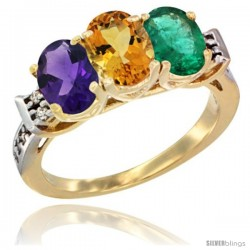 10K Yellow Gold Natural Amethyst, Citrine & Emerald Ring 3-Stone Oval 7x5 mm Diamond Accent