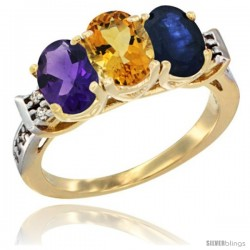 10K Yellow Gold Natural Amethyst, Citrine & Blue Sapphire Ring 3-Stone Oval 7x5 mm Diamond Accent