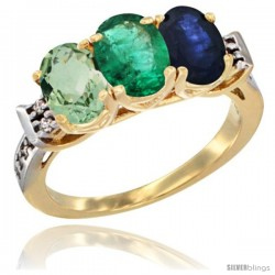 10K Yellow Gold Natural Green Amethyst, Emerald & Blue Sapphire Ring 3-Stone Oval 7x5 mm Diamond Accent