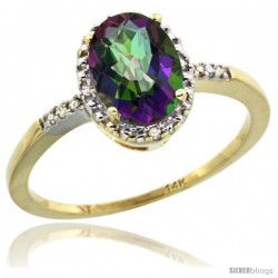 14k Yellow Gold Diamond Mystic Topaz Ring 1.17 ct Oval Stone 8x6 mm, 3/8 in wide