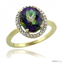 14k Yellow Gold Diamond Mystic Topaz Ring 2.4 ct Oval Stone 10x8 mm, 1/2 in wide -Style Cy408114