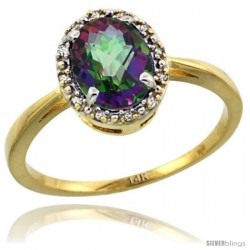 14k Yellow Gold Diamond Halo Mystic Topaz Ring 1.2 ct Oval Stone 8x6 mm, 1/2 in wide