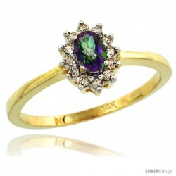 14k Yellow Gold Diamond Halo Mystic Topaz Ring 0.25 ct Oval Stone 5x3 mm, 5/16 in wide