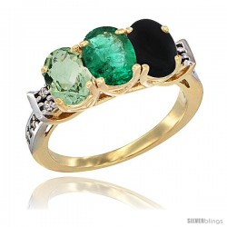 10K Yellow Gold Natural Green Amethyst, Emerald & Black Onyx Ring 3-Stone Oval 7x5 mm Diamond Accent