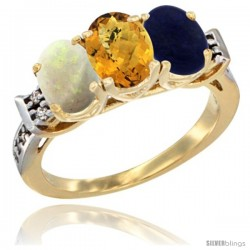 10K Yellow Gold Natural Opal, Whisky Quartz & Lapis Ring 3-Stone Oval 7x5 mm Diamond Accent