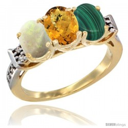 10K Yellow Gold Natural Opal, Whisky Quartz & Malachite Ring 3-Stone Oval 7x5 mm Diamond Accent