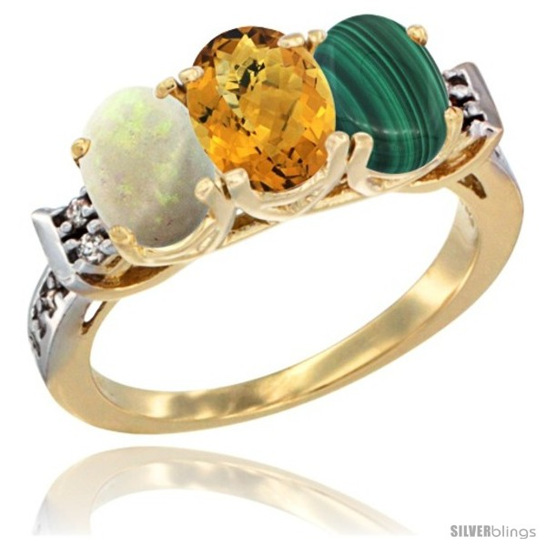 https://www.silverblings.com/40205-thickbox_default/10k-yellow-gold-natural-opal-whisky-quartz-malachite-ring-3-stone-oval-7x5-mm-diamond-accent.jpg