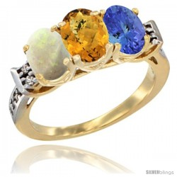 10K Yellow Gold Natural Opal, Whisky Quartz & Tanzanite Ring 3-Stone Oval 7x5 mm Diamond Accent