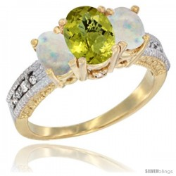 10K Yellow Gold Ladies Oval Natural Lemon Quartz 3-Stone Ring with Opal Sides Diamond Accent
