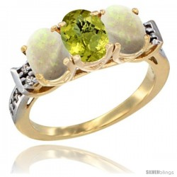 10K Yellow Gold Natural Lemon Quartz & Opal Sides Ring 3-Stone Oval 7x5 mm Diamond Accent