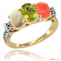 10K Yellow Gold Natural Opal, Lemon Quartz & Coral Ring 3-Stone Oval 7x5 mm Diamond Accent