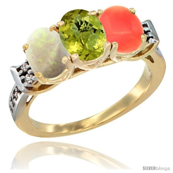 https://www.silverblings.com/40217-thickbox_default/10k-yellow-gold-natural-opal-lemon-quartz-coral-ring-3-stone-oval-7x5-mm-diamond-accent.jpg