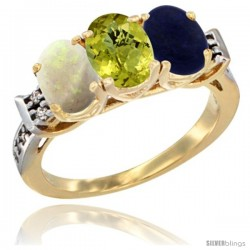 10K Yellow Gold Natural Opal, Lemon Quartz & Lapis Ring 3-Stone Oval 7x5 mm Diamond Accent