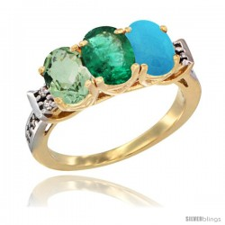 10K Yellow Gold Natural Green Amethyst, Emerald & Turquoise Ring 3-Stone Oval 7x5 mm Diamond Accent