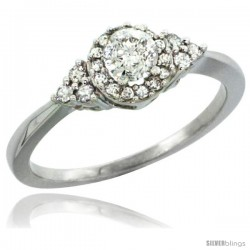 10k White Gold Cluster Diamond Engagement Ring w/ 0.49 Carat Brilliant Cut Diamonds, 5/16 in. (8mm) wide