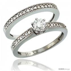 10k White Gold 2-Pc. Diamond Engagement Ring Set w/ 0.50 Carat Brilliant Cut Diamonds, 1/8 in. (3mm) wide