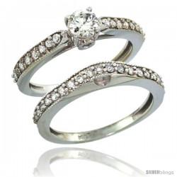 10k White Gold 2-Pc. Diamond Engagement Ring Set w/ 0.92 Carat Brilliant Cut Diamonds, 1/8 in. (3mm) wide