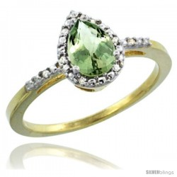 10k Yellow Gold Diamond Green-Amethyst Ring 0.59 ct Tear Drop 7x5 Stone 3/8 in wide