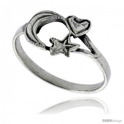 Sterling Silver Moon, Star & Heart Ring 7/16 in wide
