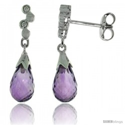 10k White Gold Bubbles & Amethyst Earrings, w/ 0.03 Carat Brilliant Cut Diamonds, 7/8 in. (22mm) tall