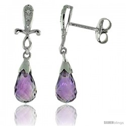 10k White Gold Cross & Amethyst Earrings, w/ 0.02 Carat Brilliant Cut Diamonds, 1 in. (25mm) tall
