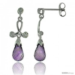 10k White Gold Loop & Amethyst Earrings, w/ 0.05 Carat Brilliant Cut Diamonds, 1 in. (26mm) tall