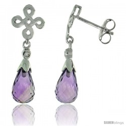 10k White Gold Infinity Cross Amethyst Earrings, w/ 0.03 Carat Brilliant Cut Diamonds, 1 in. (25mm) tall