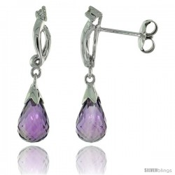 10k White Gold Swirl & Amethyst Earrings, w/ 0.03 Carat Brilliant Cut Diamonds, 1 in. (26mm) tall