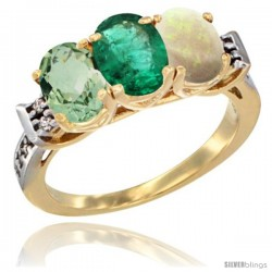 10K Yellow Gold Natural Green Amethyst, Emerald & Opal Ring 3-Stone Oval 7x5 mm Diamond Accent