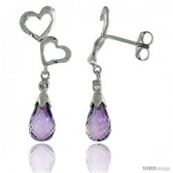10k White Gold Double Heart Cut Out & Amethyst Earrings, w/ Brilliant Cut Diamonds, 1 1/8 in. (29mm) tall