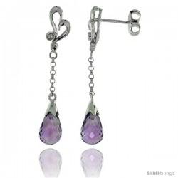 10k White Gold Heart Cut Out & Amethyst Earrings, w/ 0.03 Carat Brilliant Cut Diamonds, 1 7/16 in. (36mm) tall