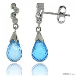 10k White Gold Bubbles & Blue Topaz Earrings, w/ 0.03 Carat Brilliant Cut Diamonds, 7/8 in. (22mm) tall