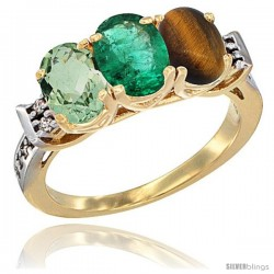 10K Yellow Gold Natural Green Amethyst, Emerald & Tiger Eye Ring 3-Stone Oval 7x5 mm Diamond Accent