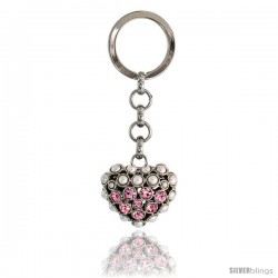 Puffed Heart Key Chain, Key Ring, Key Holder, Key Tag, Key Fob, w/ Beads & Brilliant Cut Pink Topaz-color Swarovski Crystals