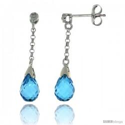 10k White Gold Dangle Blue Topaz Earrings, w/ 0.02 Carat Brilliant Cut Diamonds, 1 1/16 in. (27mm) tall