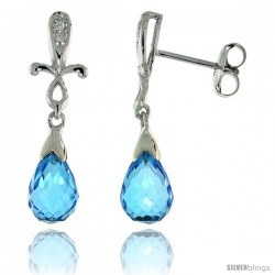 10k White Gold Cross & Blue Topaz Earrings, w/ 0.02 Carat Brilliant Cut Diamonds, 1 in. (25mm) tall