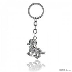 """Beagle Dog Key Chain, Key Ring, Key Holder, Key Tag, Key Fob, w/ Clear Swarovski Crystals, 4"""" tall"""