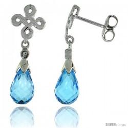 10k White Gold Infinity Cross Blue Topaz Earrings, w/ 0.03 Carat Brilliant Cut Diamonds, 1 in. (25mm) tall