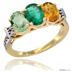 10K Yellow Gold Natural Green Amethyst, Emerald & Whisky Quartz Ring 3-Stone Oval 7x5 mm Diamond Accent