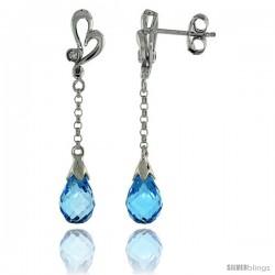 10k White Gold Heart Cut Out & Blue Topaz Earrings, w/ 0.03 Carat Brilliant Cut Diamonds, 1 7/16 in. (36mm) tall