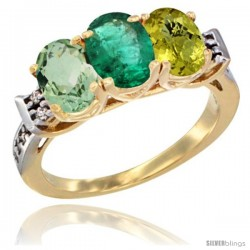 10K Yellow Gold Natural Green Amethyst, Emerald & Lemon Quartz Ring 3-Stone Oval 7x5 mm Diamond Accent