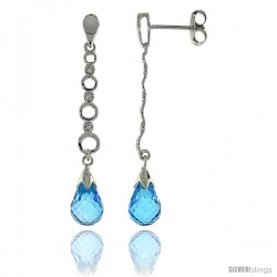 10k White Gold Graduated Circle Cut Outs & Blue Topaz Earrings, w/ 0.05 Carat Brilliant Cut Diamonds, 1 9/16 in. (40mm) tall